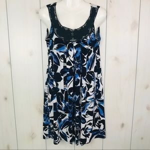 Carole Little Black White Blue Shift Sundress M